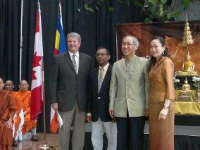 From Left Hon. MPP Jack MacLaren - Vesak in Ottawa Founder Visita Leelaratna - Ambassador of Thailand Pisan Manawapat and Wanchana Manawapat