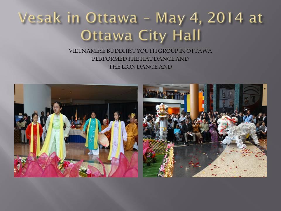 Pertunjukan tari Topi dan Barongsai di perayaan Vesak 2014 di balai Kota Ottawa, Kanada