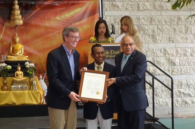 Mayor presented Vesak Day in Ottawa proclamation to Visita Leelaratna
